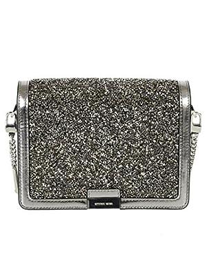 MICHAEL by Michael Kors Jade Light Pewter Embellished Medium Leather Clutch Bag