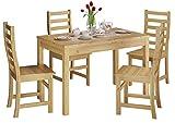 Erst-Holz® Schöne Essgruppe mit Tisch und 4 Stühle Kiefer Massivholz Natur 90.70-51 B-Set 21