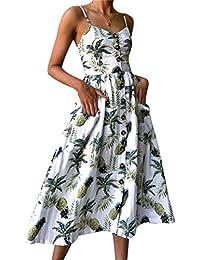 90cb3d2202e Robe Mi Longue Boheme Femme Ete Robes Midi Boho Fleurie Droite été Robe  Plage Sans Manches Dos Nu Col V Imprimée Fleuries Fete…