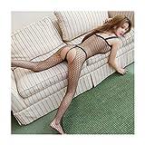 Jiabei Sexy intimo sexy aperto file signore tuta rete uniforme trasparente calze siamesi sexy (Colore : Nero)