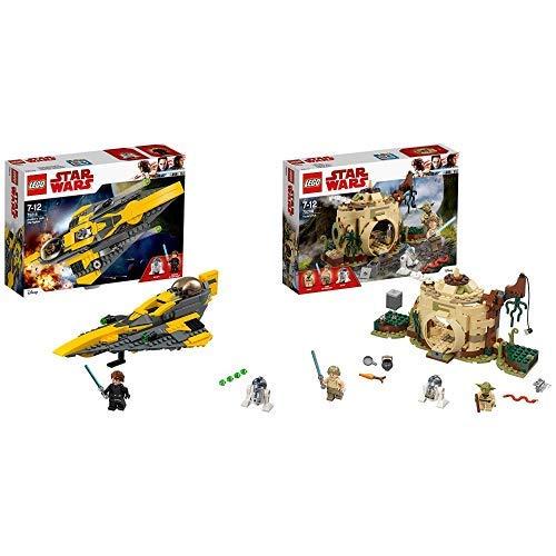 LEGO Star Wars Anakin's Jedi Starfighter (75214), Star Wars Spielzeug &  Star Wars Yodas Hütte 75208 Star Wars Spielzeug