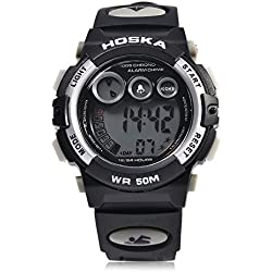 Leopard Shop HOSKA H002S Kid Sports Digital Watch with Day Chronograph LED Light Wristwatch Water Resistance White Black