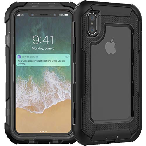 iPhone XR Heavy Duty Case, 3C-LIFE Triple Protective Layer Full Body Shockproof Bumper Case with Swivel Belt Clip and Kickstand für (Black) Cellular Connection Interface