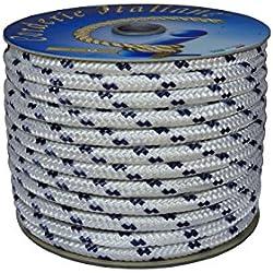 Corderie Italiane 6000747 Treccia Nautica, 10 mm-050 mt, Blanco con azul Marcador