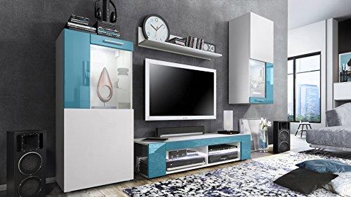 Combinaison murale Movie, Corps en Blanc mat / Façades en Blanc mat avec une bordure en Turquoise haute brillance avec éclairage LED en Blanc