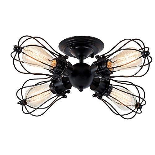 Deckenleuchte Retro Metall Deckenleuchte Antik Retro Lampe für Landhaus Schlafzimmer Wohnzimmer Esstisch (4L Gemälde von Öl gerieben Bronze) (Gemalt mit modernem schwarzem)