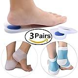 Gel tallone del tallone, tacco posteriore manica e idratante set di calzini fascite plantare e alleviare il dolore e pressione, tutti i 3paia, ciascuno per scarpe, piedi e camminare a casa