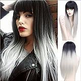 Frau Perücke, Partei der tägliche Gebrauch, Hochtemperatur-Draht Perücke, kurze Haare, leicht gewellt, schwarz grau verlaufend, 0