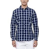 Highlander Men's Checkered Slim Fit Cotton Casual Shirt (HLSH009224_Large_Navy Blue)