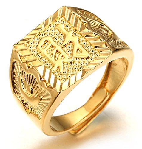 Halukakah ● Gold Segne Alle ● Männlich 18K Gold überzogen Kanji Ring REICHTUM Set Größe verstellbar mit KOSTENLOSER Geschenkpackung (Diamant-ringe Sets)