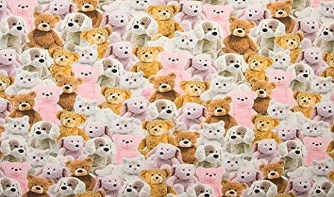 Sweet Teddy Bär Stoff–Stretch Baumwolle Jersey Material für Kinder 160cm breit–Pink (Meterware)