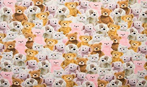 Sweet Teddy Bear - en tissu stretch coton jersey Matière pour enfant 160 cm de large - Rose (vendu au mètre)