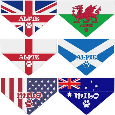 Personalised International Flag Dog Bandanas [Football Matches, Sports, Olympics] Patriotic Doggy Neckerchief with Name & Symbol - Customised Pet Triangle Neck Scarf [Goes onto Dog Collar] by PersonaliseDog