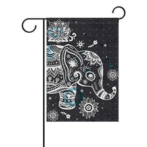 Naiian bandiera da giardino doppio floreale animale elefante fiore 30,5x 45,7cm banner per outdoor lawn decor, poliestere, image 781, 28x40(in)