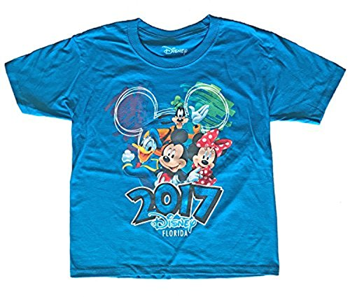 Disney Youth 2017 Dated Scribble Art Donald Mickey Goofy Minnie Tee, Pacific Blue (Florida Namedrop) (Small) (Crew Tee Youth)