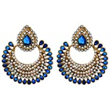 LT1008 AARNAA ROYAL BLUE CHANDELIER EARI...