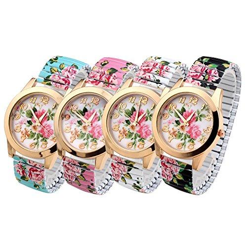 JSDDE Uhren, Damenmode Pfingstrosen Blume Armbaduhr,Basel-stil Flexband Quarzuhr(Weiß) - 4
