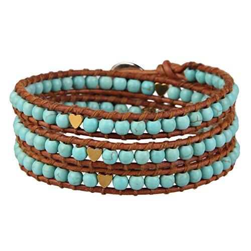 KELITCH Natürliche Elegant Sommer Schmuck Blass Blau Türkis Beads 3-fach Bracelet Manschette Armband WickelArmband - Braun Leder (Blass-türkis)
