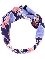 TININNA Mode Bohême Imprimé Floral Élastique tressée de l'enveloppe Bandeau pour cheveux Hairband bulles Turban accessoires pour cheveux Profondo blu