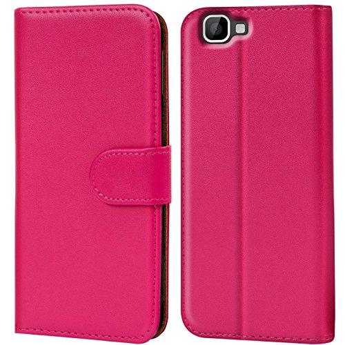 Verco Rainbow Hülle, Handyhülle für Wiko Rainbow Tasche PU Leder Flip Case Brieftasche - Pink