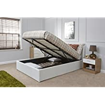 Caspian Ottoman Gas Lift Up Storage Bed - White 4ft6 Double