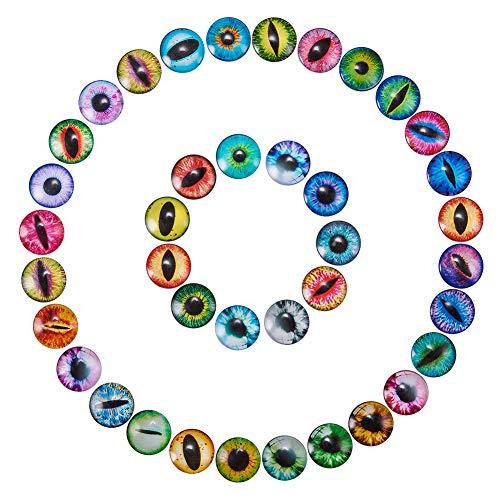 NBEADS 100 Stück Katze Augen gedruckt Kuppel Glascabochons Runde flache Rückseite für Cameo Anhänger Einstellungen, Mischfarbe, 25x7mm