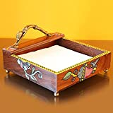 ExclusiveLane Handpainted Wooden Napkin Holder With Madhubani Art - Napkin Holder Wooden Tissue Holder Kitchen Linen