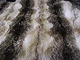 CRS Fur Fabrics Luxus Tier Kunstfell Stoff Material Braun & Weiß Wolf