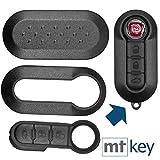 Auto Schlüssel Set Schale Cover Schwarz + Tastenfeld für FIAT 500 Punto Doblo