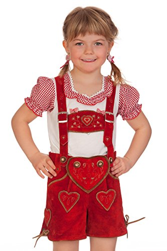 Kinder Lederhose kurz - HERZIG - rot, Größe 176