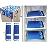 Yellow Weaves™Combo of Exclusive Decorative Fridge Top Cover, Fridge Handle Covers + 3 Fridge Mats (Blue, 6 Piece Set)