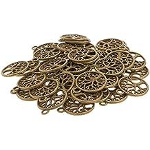 MagiDeal 50pcs Antike Bronze Baum Des Lebens Kreis-Charme Anhänger Schmuck