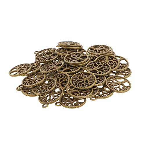 MagiDeal 50pcs Antike Bronze Baum Des Lebens Kreis-Charme Anhänger Schmuck (Baum Des Lebens Charme)