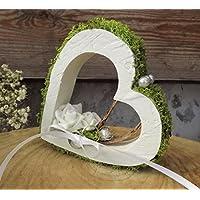 Ringkissen Ringhalter OSB Holz Herz weiß grün stehend für Eheringe Hochzeit
