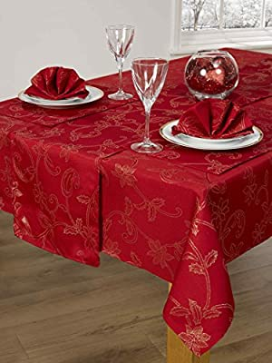 14 piece Christmas table linen set Frosted Rose Red & Gold metallic Poinsettia pattern