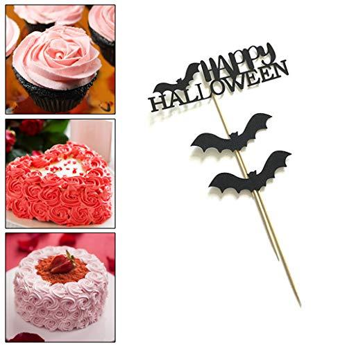 Ruda 3 Stücke Cupcake Toppers Halloween Fledermaus Kuchen Papier Topper Für Party Geburtstag Liefert Baby Dusche DIY Dekor Schwarz