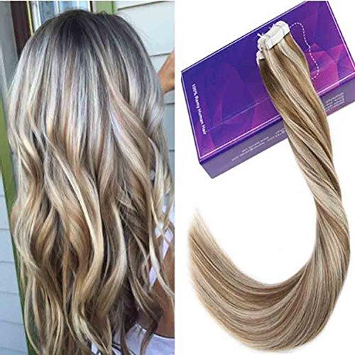 Laavoo 16 pollice marrone chiaro highlights bionda platino seamless hair extension capelli adesive naturali dritto 50gr/20pc