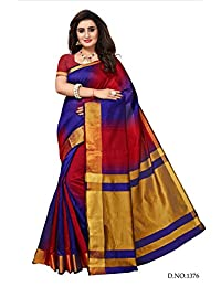 Fabwomen Sarees Zari Work MULTI COLOURED Kanjeevaram Silk Fashion Party Wear Women's Saree/Sari With Blouse Piece.