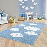 Taracarpet Kinder Teppich für das Kinderzimmer Bueno Hochwertig mit Konturenschnitt Blau verträumte Wolken 120x170 cm