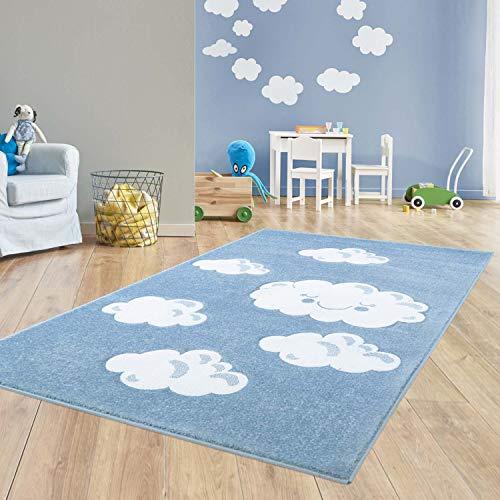 Taracarpet Kinder Teppich für Das Kinderzimmer Bueno Hochwertig mit Konturenschnitt Blau...