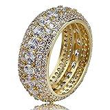 Questo anello completamente Iced Out è realizzato in ottone con placcatura in oro 18K Premium del gioielliere. Ogni pietra è accuratamente impostato a mano da un gioielliere professionista, creando un look totalmente i prodotti Iced Out. Pesante e s...