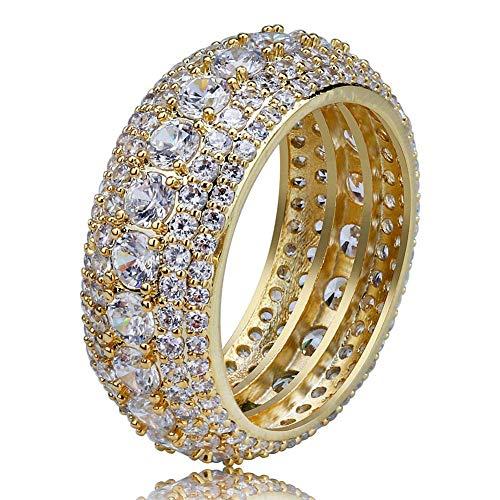 e2c4791632a35 MoCa Iced out - Anillo Hip Hop CZ con Diamante Completo Chapado en Oro de 18