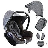 BAMBINIWELT Ersatzbezug für Maxi-Cosi CabrioFix 6-tlg. GRAU/DUNKELBRAUN, Bezug für Babyschale, Komplett-Set