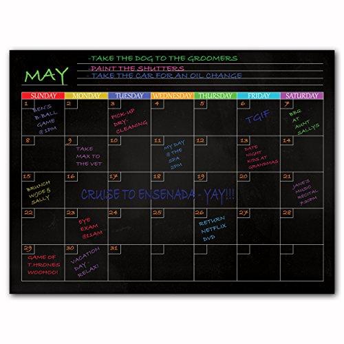 Magnetische trocken abwischbare Kühlschrank Boards-Für Speisekarten, Notizen, To do Listen, Planer, Lebensmittel- und Kalender Black Monthly Calendar (Magnetischen Trocken-board)