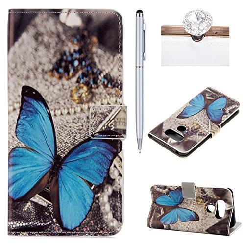 Preisvergleich Produktbild Felfy Handyhülle für LG G6,LG G6 Hülle,LG G6 Lederhülle Luxe Flip PU Lederhülle Magnetic Buckle Wallet Handyhülle Ledercase Tasche Hüllen Brieftasche Bunte Gemalt Malerei Blumen Schmetterling Turm Schön Muster [PU Leder & Silikon Innenschale] Handy Etui Karten Slot Lederhülle Schutzhülle Tasche Schale für LG G6 [Blau Schmetterling] + 1x Silver Stylus+ 1x Bling Dust Plug[Farbe Random]