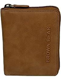 Brown Bear Geldbörse Leder vintage Reißverschluss Billy ca