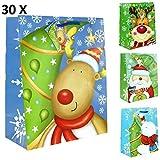 30 Stück Geschenktüten GROSS, Kinder Weihnachten 32x26x13 cm