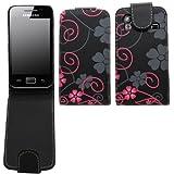Samrick Étui à rabat en cuir avec film protecteur d'écran et chiffon microfibre pour Samsung S5830 Galaxy Ace/Hugo Boss Noir/rose/motifs fleurs
