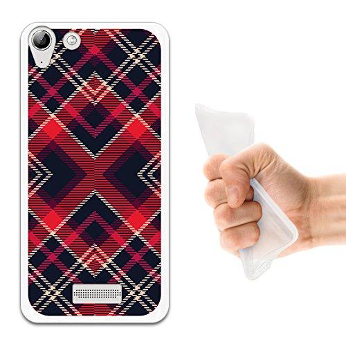 WoowCase Wiko Selfy 4G Hülle, Handyhülle Silikon für [ Wiko Selfy 4G ] Schottenkaro rotes Muster Handytasche Handy Cover Case Schutzhülle Flexible TPU - Transparent