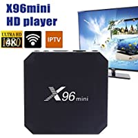 Cewaal (EU Plug)TV Box, X96 Mini TV Box 4K Amlogic S905X Quad Core Android 7.1 1G + 8G 2.4GHz WiFi